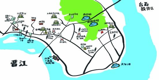 东海生活手绘图(黄晖/绘) 随着市政中心东迁,未来东海片区将成为行政、文化、经济重地。目前已有不少新楼盘崛起、大型超市、金融网点布局,此外在建的二院东海院区、规划中的东海学园,以及几座大型公园、广场,将给未来东海的市民提供各种便利。早报记者驱车实地踩点,走街穿巷,提前探路,希望能给广大读者提供一幅实用、方便的新城图景。 医院 从泉秀街驱车前往新行政中心,还未入东海大街,在通港西街距宝山小区百米左右,你就可以看见滨海医院。该院设有内科、外科、急诊科、儿科、妇科、不孕不育科、皮肤科、中医科等二十多个临床科室