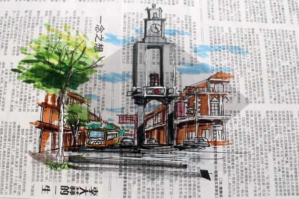 手绘版《泉州风情·钟楼》