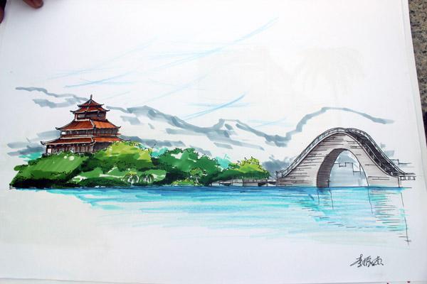 """公園噴泉手繪效果圖圖片分享; 手繪版""""泉州風情""""網上流傳 """"90后""""學子"""