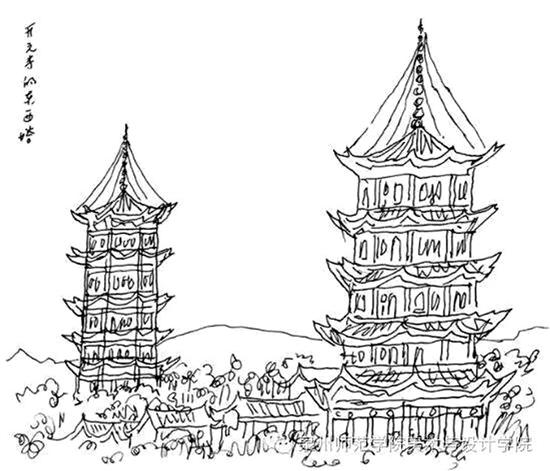 黄永玉手绘《开元寺的东西塔》